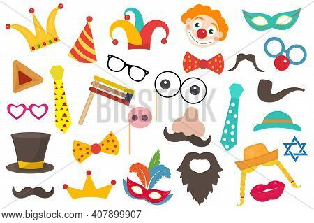 Happy Purim Carnival Set Funny Costume Elements, Icons For The Party. Purim Jewish Holiday Props For