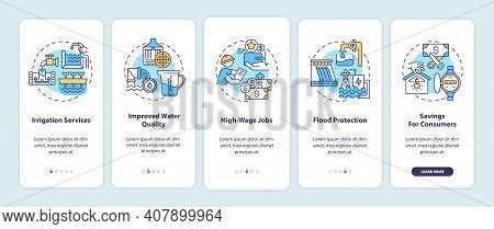 Source Of Renewable Electricity Onboarding Mobile App Page Screen With Concepts. Hydropower Energy B