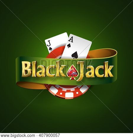 Blackjack Logo With Green Ribbon And On A Green Background, Isolated. Card Game. Casino Game. Vector