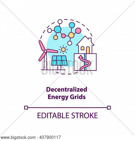 Decentralized Energy Grids Concept Icon. Reducing Emissions Fossil Fuels Idea Thin Line Illustration