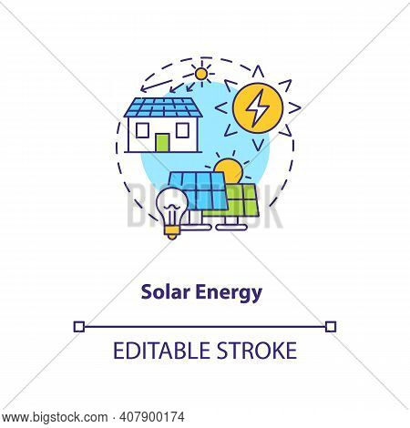 Solar Energy Concept Icon. Transform Sunlight In Electricity Idea Thin Line Illustration. Photovolta
