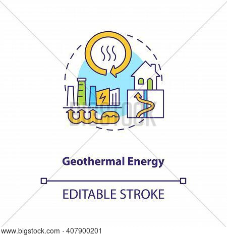 Geothermal Energy Concept Icon. Hydrothermal Resource Idea Thin Line Illustration. Decay Of Radioact