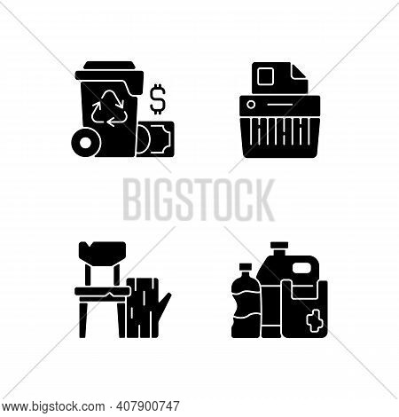 Managing Waste Black Glyph Icons Set On White Space. Waste Management Cost. Paper Shredding. Discard