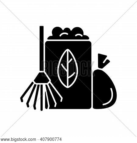 Yard Waste Collection Black Glyph Icon. Organic Waste From Residential Lawns And Gardens. Grass Clip