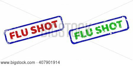 Vector Flu Shot Framed Watermarks With Corroded Style. Rough Bicolor Rectangle Watermarks. Red, Blue