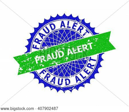Vector Fraud Alert Bicolor Stamp Seal With Rough Style. Blue And Green Colors. Flat Seal Stamp With