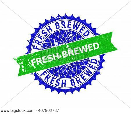Vector Fresh Brewed Bicolor Stamp With Grunged Surface. Blue And Green Colors. Flat Stamp With Fresh