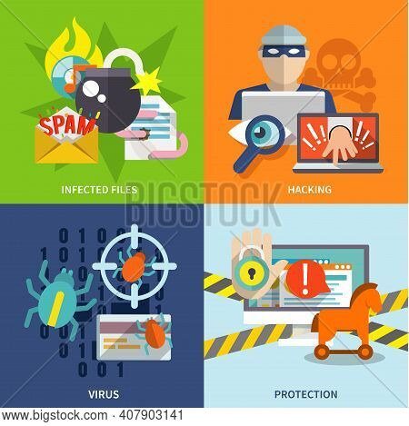 Hacker Flat Icons Set With Infected Files Hacking Virus Protection Isolated Vector Illustration