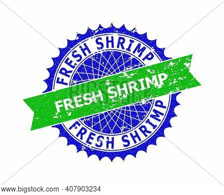 Vector Fresh Shrimp Bicolor Stamp Seal With Corroded Surface. Blue And Green Colors. Flat Seal Impri