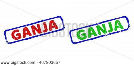 Vector Ganja Framed Rubber Imitations With Distress Surface. Rough Bicolor Rectangle Seal Stamps. Re