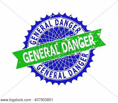 Vector General Danger Bicolor Stamp Seal With Distress Surface. Blue And Green Colors. Flat Seal Imp
