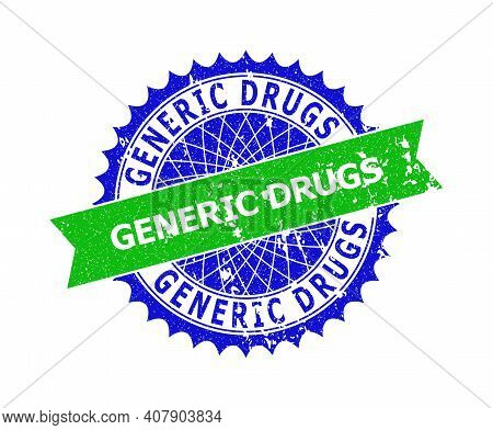 Vector Generic Drugs Bicolor Stamp Seal With Grunged Texture. Blue And Green Colors. Flat Stamp With