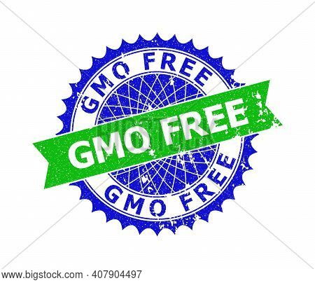 Vector Gmo Free Bicolor Stamp Seal With Unclean Style. Blue And Green Colors. Flat Seal Stamp With G