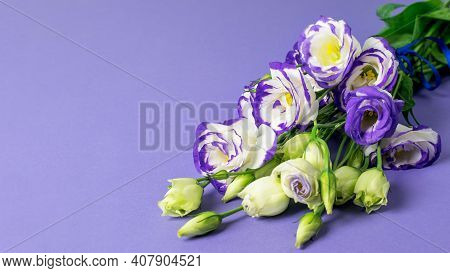 Blue And White Lisianthus Flowers Bouquet On The Blue Background. Nice Greeting Card Design, Banner