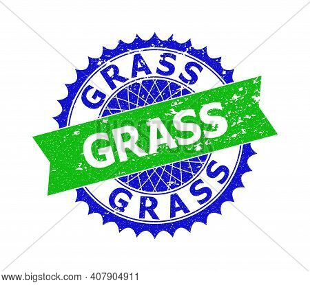 Vector Grass Bicolor Seal With Rubber Surface. Blue And Green Colors. Flat Seal Stamp With Grass Phr