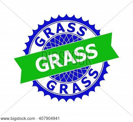 Vector Grass Bicolor Template For Imprints With Clean Surface. Flat Clean Seal Template With Grass P