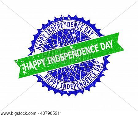 Vector Happy Independence Day Bicolor Stamp Seal With Scratched Texture. Blue And Green Colors. Flat