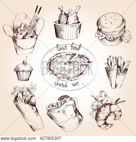 Fast Food Decorative Sketch Icons Set Of Pizza Spaghetti Chicken Hamburger Isolated Vector Illustrat