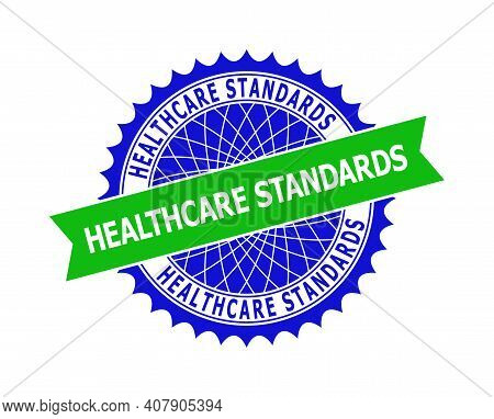 Vector Healthcare Standards Bicolor Template For Watermarks With Clean Surface. Flat Clean Seal Temp