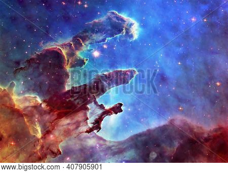 Somewhere In Space Near Pillars Of Creation. Science Fiction. Elements Of This Image Were Furnished