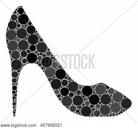 High Heel Shoe Vector Collage Of Small Circles In Variable Sizes And Color Tints. Small Circles Are