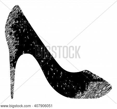 High Heel Shoe Icon With Scratched Style. Isolated Vector High Heel Shoe Icon Image With Scratched R