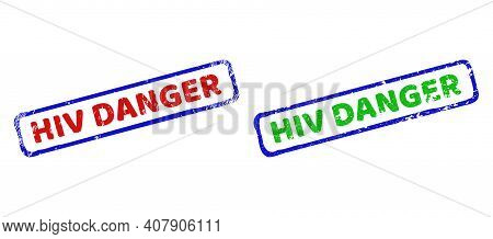 Vector Hiv Danger Framed Watermarks With Unclean Texture. Rough Bicolor Rectangle Seal Stamps. Red,