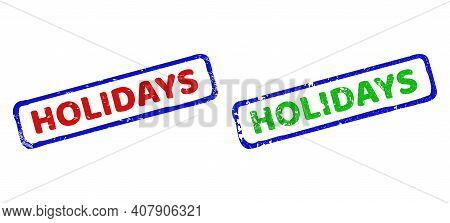 Vector Holidays Framed Watermarks With Unclean Surface. Rough Bicolor Rectangle Watermarks. Red, Blu