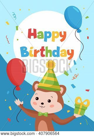 Happy Birthday Cards Template For Postcards And Invitations. Jungle Animals. Funny Cartoon Monkey Wi