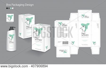 Box Packaging Vector For Hair, Cream, Skin, Lotion, Shampoo, Beauty, Health, Medicine, Supplement. 3