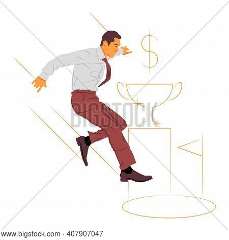 Vector Businessman In Shadow Of Sharp Lines Style