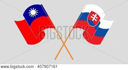 Crossed And Waving Flags Of Slovakia And Taiwan. Vector Illustration