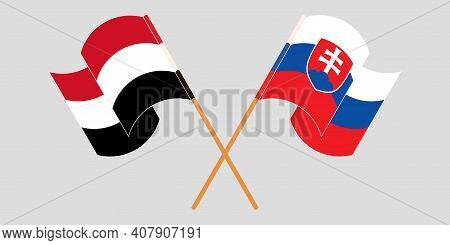 Crossed And Waving Flags Of Slovakia And Yemen. Vector Illustration