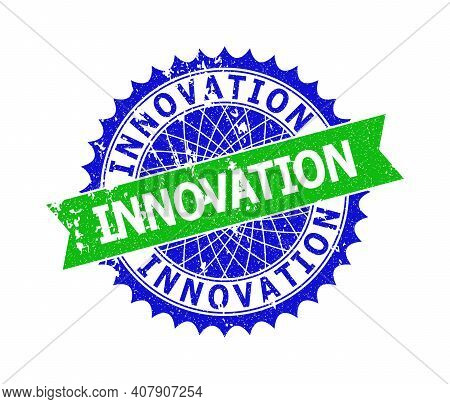 Vector Innovation Bicolor Seal With Rough Surface. Blue And Green Colors. Flat Seal With Innovation