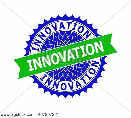 Vector Innovation Bicolor Template For Watermarks With Clean Surface. Flat Clean Seal Template With