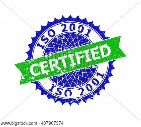 Vector Iso 2001 Certified Bicolor Stamp Seal With Grunged Surface. Blue And Green Colors. Flat Stamp