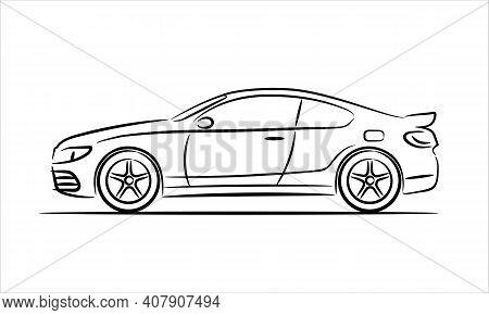 Coupe Car Line Art Icon Monochrome Illustration. A Hand Drawn Line Art Of A Sedan Car.