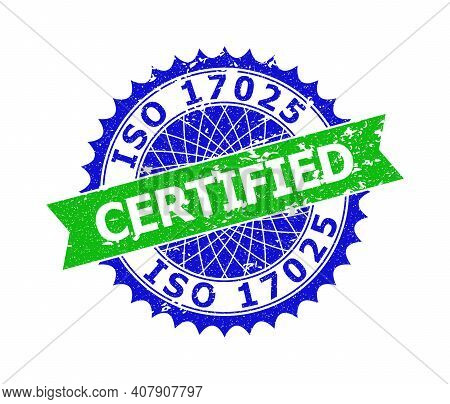 Vector Iso 17025 Certified Bicolor Seal With Unclean Style. Blue And Green Colors. Flat Seal Imprint