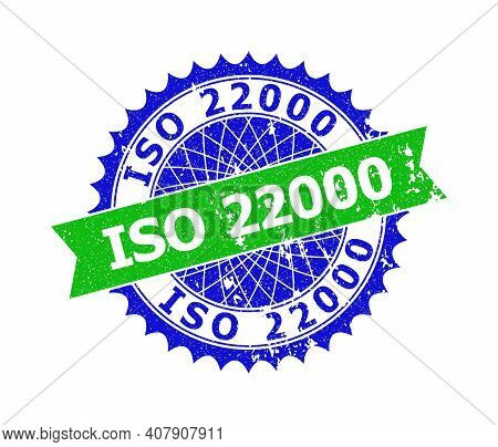 Vector Iso 22000 Bicolor Stamp Seal With Grunged Surface. Blue And Green Colors. Flat Seal Stamp Wit
