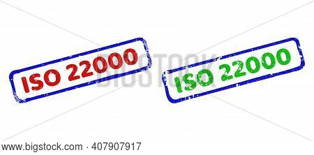 Vector Iso 22000 Framed Imprints With Unclean Style. Rough Bicolor Rectangle Seal Stamps. Red, Blue,