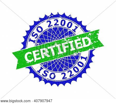 Vector Iso 22001 Certified Bicolor Seal With Unclean Style. Blue And Green Colors. Flat Seal Imprint