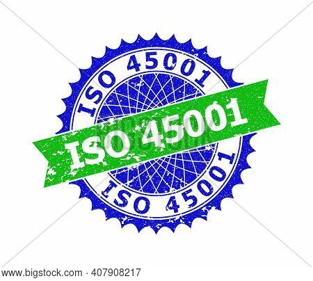 Vector Iso 45001 Bicolor Stamp With Unclean Style. Blue And Green Colors. Flat Seal Stamp With Iso 4