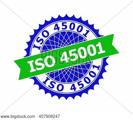 Vector Iso 45001 Bicolor Template For Rubber Imitations With Clean Surface. Flat Clean Seal Template