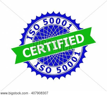 Vector Iso 50001 Certified Bicolor Template For Imprints With Clean Surface. Flat Clean Seal Stamp W