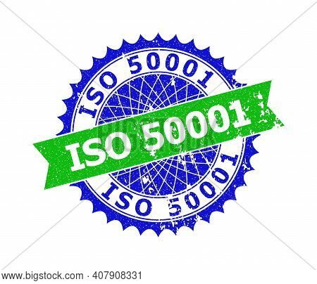Vector Iso 50001 Bicolor Stamp Seal With Corroded Texture. Blue And Green Colors. Flat Seal Stamp Wi