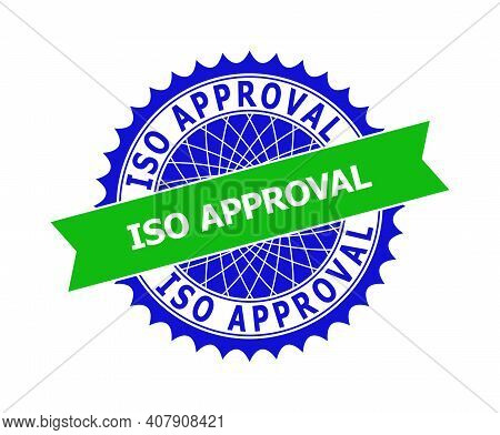 Vector Iso Approval Bicolor Template For Watermarks With Clean Surface. Flat Clean Seal Template Wit