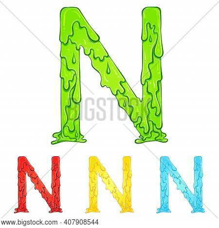 Letter N With Flow Drops And Goo Splash. Color Illustration Of The Symbol N In Four Colors Green, Re