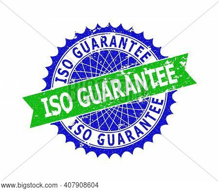 Vector Iso Guarantee Bicolor Stamp Seal With Distress Surface. Blue And Green Colors. Flat Seal Stam