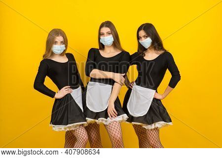 Beautiful Sexy Women In Maid Clothes Posing In Covid Protective Mask