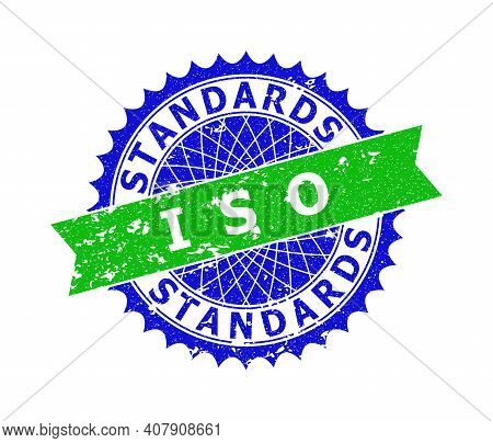 Vector Iso Standards Bicolor Stamp With Corroded Texture. Blue And Green Colors. Flat Seal Stamp Wit